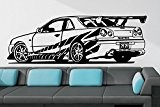 Sticker mural Fast & Furious Nissan Skyline R34, Vinyle, noir, Medium