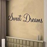 Sticker mural–Sweet Dreams Décoration Murale Papier Peint Chambre Salon Cuisine mon1, Blanc, -MEDIUM -SIZE 90cm x 22cm
