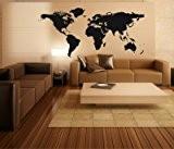 Stickerkönig sticker mural motif carte du monde-world map iI sticker motif detaill iI (dimensions: 140 x 73 cm