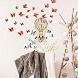 Stickers 3D - Pack de 12 papillons miroirs et 12 papillons rouges