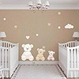 Stickers Billy l'Ourson Beige - Adorable Sticker Ourson, Ideal pour la Deco de la chambre de bébé composé de 3 ...
