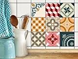 Stickers Carrelage cuisine - Autocollant adhésif | Recouvrir carreaux muraux de cuisine et salle de bain - Tuiles décalcomanies | ...