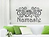 Stickers vinyle autocollant mural Mandala Fleur de Lotus Yoga Motif Namaste marocain Décoration indien Om Home Decor