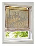 Store romain avec impression numérique sur Toscana voile transparent avec motif en marron/naturel/vert, Polyester, Braun/Natur/Grün, H/B: 130 x 80 cm