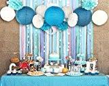 SUNBEAUTY Lot de 13 Bleu Plage-Thème Papier Parti Artisanat Décors pour Mariage ou Fête D'anniversaire