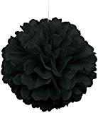 SUNBEAUTY lot de 5 25cm Pompons tissu papier de soie haute qualité pour decoration mariage et autres événement (noir, 25cm ...
