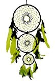 SuSvapnaah boho anneau à plusieurs capteur de rêve rond mur vert dreamcatcher plume noire suspendus décor fenêtre