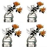 syaglass Lot de 4fleurs en forme d'ange en verre transparent suspendu Vase Mariage Decor