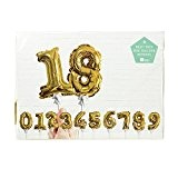 Talking Tables PARTY-BALLNUMBER Party Time Self Inflating Gold Foil Number Ballon Décoration Papier Carton Multicolore 2 x 27 x 22 ...