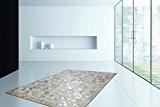 Tapis 100% Cuir Poil Ras Fait Main Gris / Argent Pixel Design Tapis - 120cm x 170cm