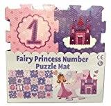 Tapis à motif puzzle, illustré de princesses, lettres A à Z et chiffres (rose)