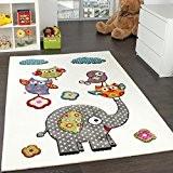 Tapis Chambre d'Enfant Adorable Monde Animal Eléphant Amis Crème Bleu Gris Rouge, Dimension:80x150 cm