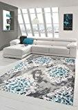Tapis contemporain design Tapis Oriental avec Glitzergarn salon tapis avec des ornements et des fleurs en gris crème Turquoise Größe ...