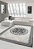Tapis contemporain design Tapis Oriental avec Glitzergarn salon tapis avec motif de frontière et le cercle dans la crème gris ...