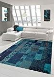 Tapis contemporain design Tapis Oriental salon tapis avec motif en bleu turquoise Größe 80x150 cm