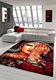 Tapis contemporain design Tapis Oriental salon tapis gris avec un tatouage au henné main Rouge Turquoise orange Stained Größe 120x170 ...