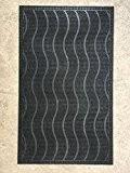 Tapis d'entrée de maison avec grattoir 45 cm x 74,5 cm - Modèle vague - Très résistant - Caoutchouc recyclé ...