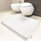 Tapis de bain blanc | certifié Oeko-Tex 100 et lavable | poil très doux | plusieurs tailles au choix - ...