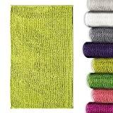 Tapis de bain chenille vert pomme casa pura® antidérapant et absorbant | 8 couleurs disponibles -50x80cm