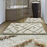 Tapis de bain de luxe casa pura® Ivoire et beige | très épais, doux, ultra absorbant et antidérapant | tailles ...