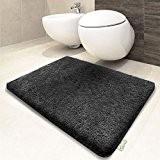 Tapis de bain gris foncé   certifié Oeko-Tex 100 et lavable   poil très doux   plusieurs tailles au choix ...