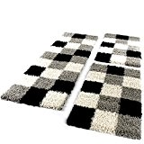 Tapis De Contour De Lit De Couloir Poils Longs Carreaux Gris Noir Blanc 3 Pcs, Dimension:2xl 70x140 / 1x 70x250 ...