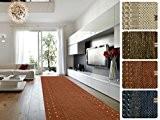 Tapis de couloir design casa pura® au metre   poil doux épais   sur mesure   Borkum, 80x200 cm, Terracotta