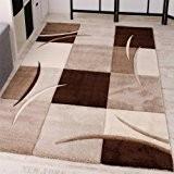 Tapis De Créateur Aux Contours Découpés à Carreaux En Marron Beige, Dimension:160x230 cm
