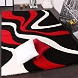 Tapis De Créateur Aux Contours Découpés Motif Vagues En Rouge Noir Blanc, Dimension:60x110 cm