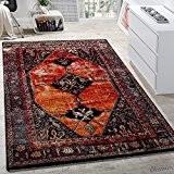 Tapis De Créateur Moderne À Poils Ras Design Oriental Multicolore Rouge Brun Coloré, Dimension:120x170 cm