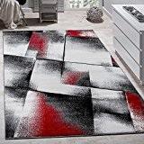 Tapis De Créateur Pour Salle De Séjour Motif à Carreaux En Rouge Gris Noir, Dimension:60x100 cm