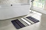 tapis de salle de bain | lavalble antidérapant | Tapis de bain 60 x 100 cm avec des rayures gris