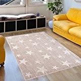 Tapis De Salon – 200 x 290 cm – Couleur Ecru Motif Marocain Etoiles – Différentes Dimensions S-XXXL – Doux ...