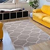 Tapis De Salon – 200 x 290 cm – Couleur Gris Motif Marocain Losanges – Différentes Dimensions S-XXXL – Doux ...