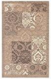 Tapis de salon en velours à motif sirocco avec dessous antidérapant 175x240cm Taupe