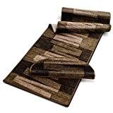 Tapis de salon moderne casa pura® marron | dos antiderapant | 100% polyamide doux | Veneto - 67x200cm