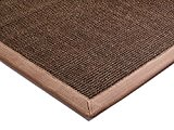 Tapis de salon moquette Carpet classique Design BORDERED SISAL RUG 100% Sisal mit Bordüre Baumwolle 200x300 cm rectangle Brun | ...