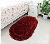 Tapis de salon ovale simple bloc stretch épais tapis 50 * 80cm,Noir-rouge