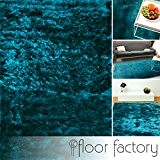 Tapis de salon Satin bleu turquoise 120x170 cm - tapis shaggy longues mèches