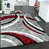 Tapis Design à Contours Motif Ligné Moucheté Gris Noir Rouge Crème , Dimension:200x290 cm