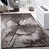 Tapis Design Élégant Salon Tronc D'Arbre Effet D'Optique Nature Gris Brun Beige , Dimension:120x170 cm