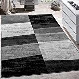 Tapis Design Moderne Abstrait Effet Carreaux Poils Ras Chiné En Gris, Dimension:200x280 cm