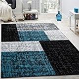 Tapis Design Moderne Poils Ras Carreaux Et Rectangles Chiné Gris Noir Turquoise, Dimension:140x200 cm