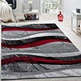 Tapis Design Moderne Poils Ras Vagues Effet Abstrait Gris Noir Rouge, Dimension:60x100 cm