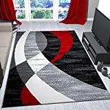 Tapis design moderne rouge gris noir geschwungene rayures poils courts Trend–VIMODA, dimensions?: 120x 170cm