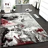 Tapis Design Moderne Toile Splash Gris Rouge Crème Marbré, Dimension:120x170 cm
