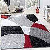 Tapis Design Poils Ras Tapis Moderne Abstrait Demi-Cercles Motif En Rouge Gris, Dimension:160x220 cm