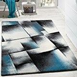 Tapis Design Salon Tapis Poils Ras Chiné Turquoise Gris Crème Noir, Dimension:160x220 cm