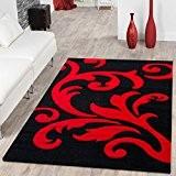 Tapis design style oriental moderne avec motif floral Rouge/noir, 80x150 cm