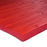 Tapis En Bambou Larges Lattes Et Ganse Rouge 170x120cm Solo Bamboo - Monbeautapis - Bambou